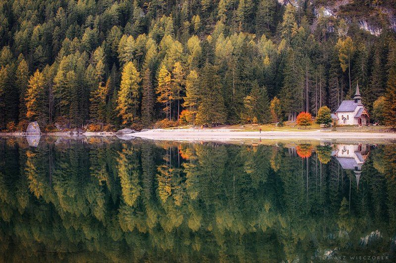 dolomiti, dolomities, italy, italia, lago, braies, lago di braies, summer, reflection, sunrise, light, sunset Peace and quietphoto preview