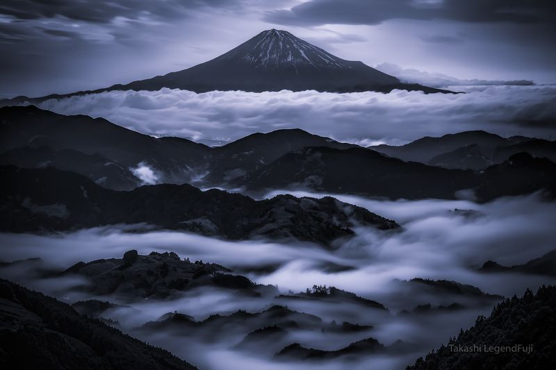 Fuji,mountain,Japan,clouds,fog,mist,sky,blue,landscapes,black and white,beautiful,amazing,stunning, Valley of clouds (Blue ink virsion)photo preview