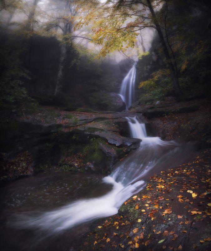 waterfall,landscape,autumn,water,nature,colors,art,foggy, пейзаж, болгария Waterfallphoto preview
