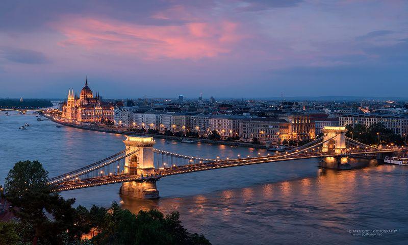 Budapest, Szechenyi, chain bridge, Parliament, Hungary, Danube, river, cityscape, sunset Budapest by nightphoto preview