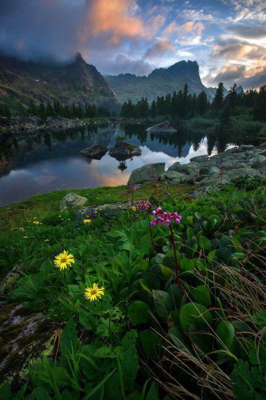 ергаки, горы, саяны, лето, сибирь, озеро, художников, озерохудожников Утро на горном озереphoto preview