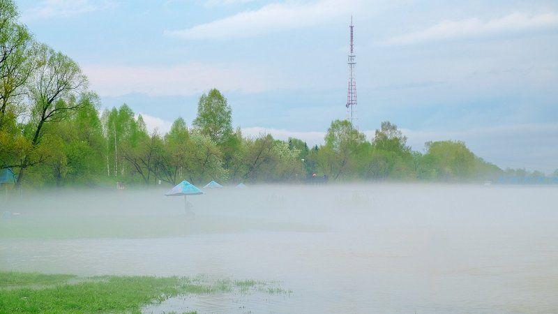 пейзаж, весна, река, пар  Туманные реки.photo preview