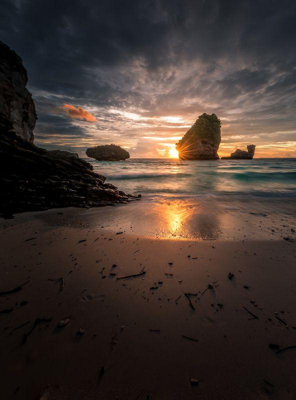sunset,beach, thailand,rock,sea,clouds,beauty,color,landscape Nui beachphoto preview