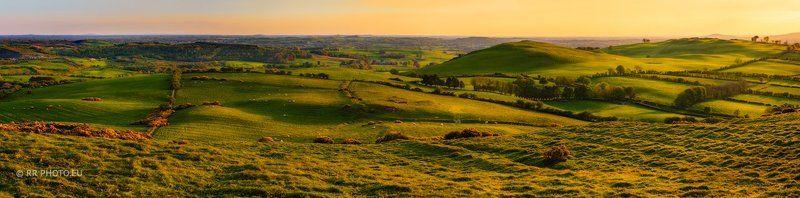 ireland, landscape, hills, panorama, sunset, outdoor, green, Irish hillsphoto preview