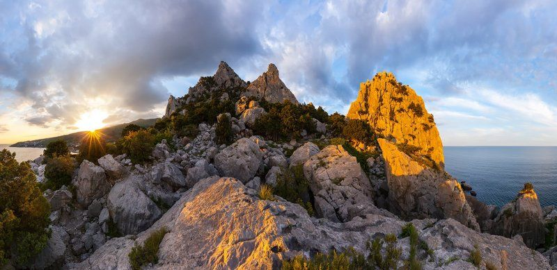 Крым, Симеиз, Черное море, ЮБК, скалы, закат \