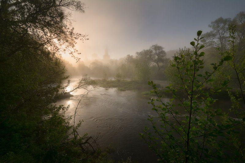 май, река, серпухов, пейзаж, утро, туман, рассвет, пейзажное фото, нара Майский сонphoto preview