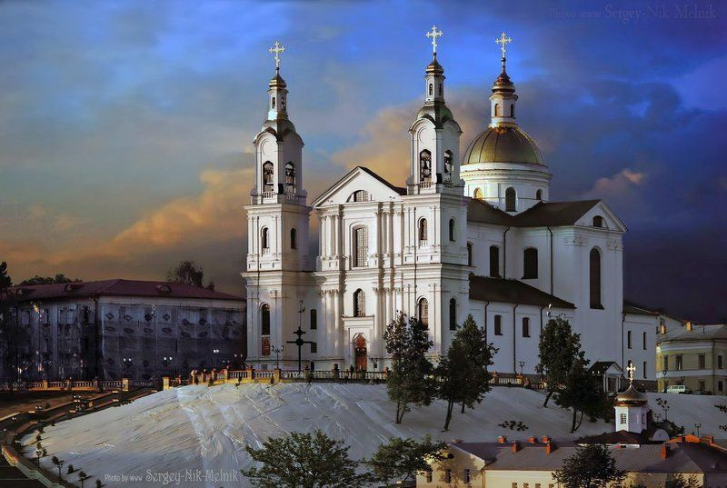 беларусь, город, витебск, вечер, фотосфера-минск Успенский собор в Витебскеphoto preview