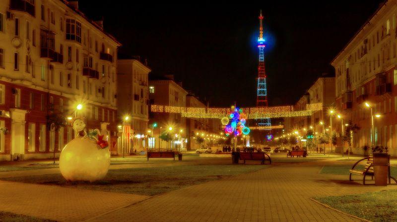 город, проспект, ночь, праздник  Ночной проспект. photo preview