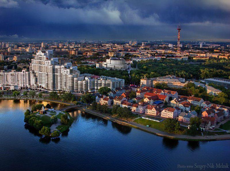 беларусь, город, минск, вечер, фотосфера-минск Город в лучах закатаphoto preview