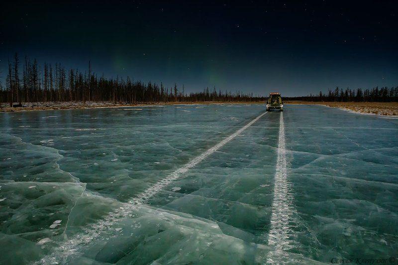 якутия, ночь, лёд, зима Ночная дорога.photo preview