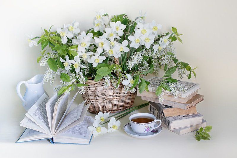 книги,чашка чая,нарциссы,весна,натюрморт, Майский денёкphoto preview