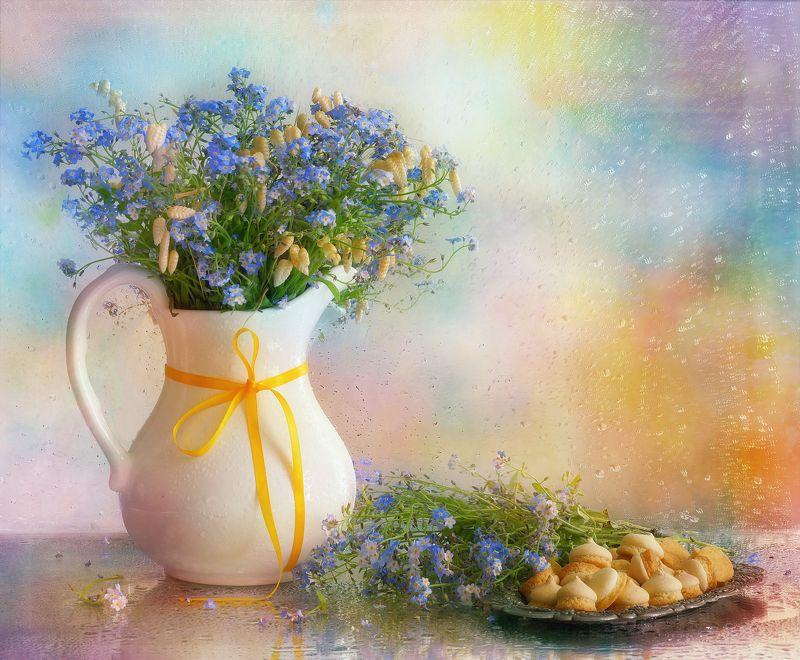 цветы, весна, букет, еда, хлеб, кантри Из серии \