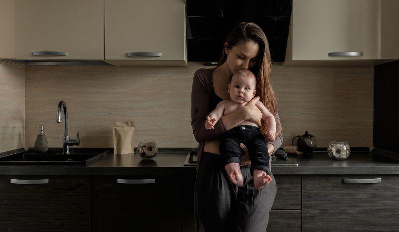 woman, baby, child, family, kitchen,  Nastya & Myronphoto preview