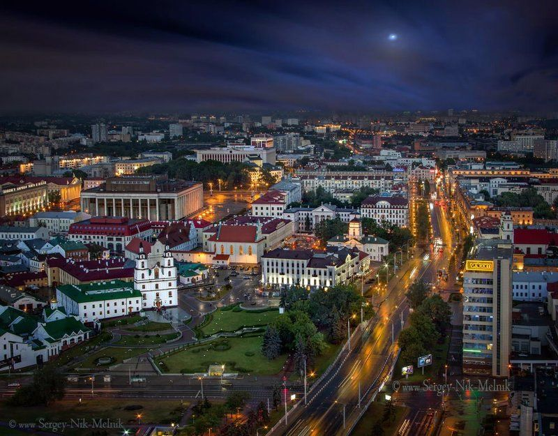 беларусь, город, минск, вечер, фотосфера-минск Google Maps городаphoto preview