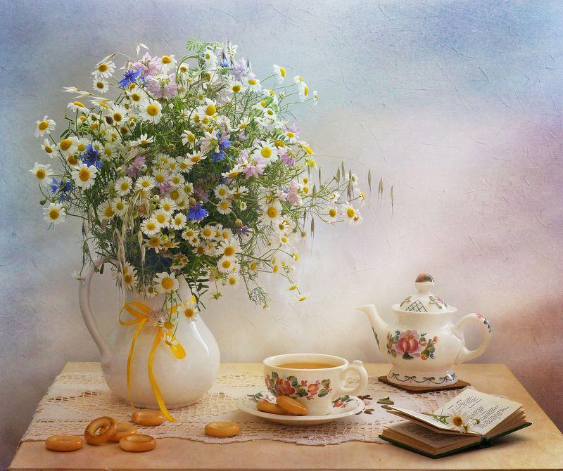 цветы, лето, букет, еда,ромашки, утро Ромашки-бубликиphoto preview