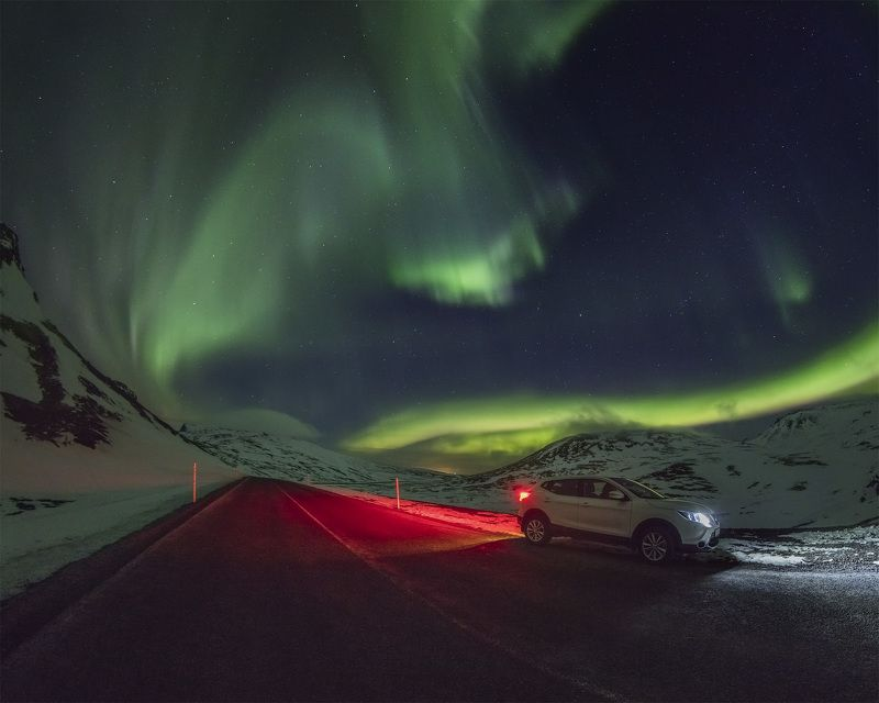 iceland lighthouse aurora northern lights Road 54, Iceland.photo preview