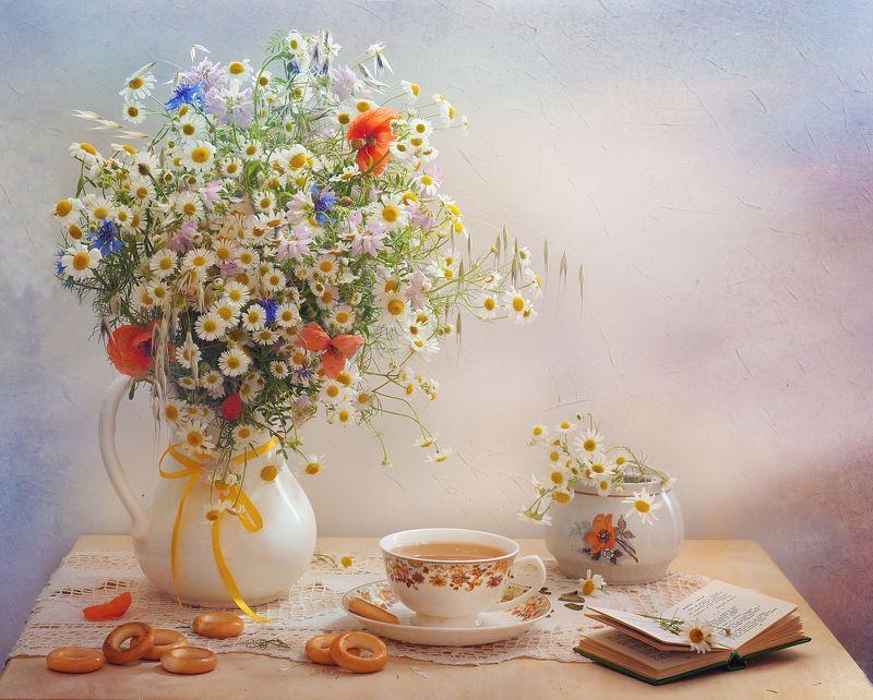 цветы, лето, букет, еда,ромашки, утро, чай Ромашковое утроphoto preview