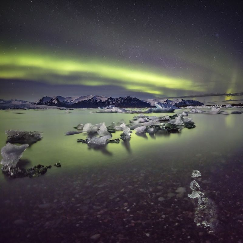 iceland, aurora, northern, lights, jokulsarlon, lagoon Jokulsarlon lagoon & northern lights.photo preview