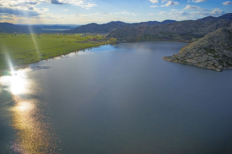 Западный Алтай, дрон, коптер, аэро, aerial Сибинское озеро на закатеphoto preview