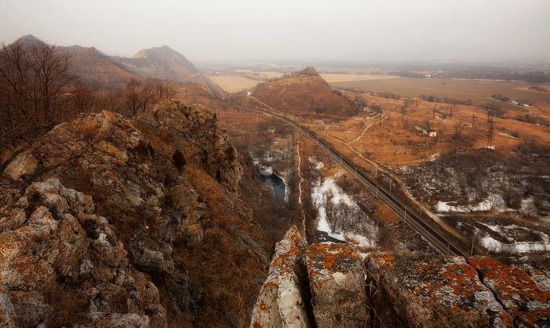 железная дорога, скалы, зима, приморье железная дорогаphoto preview