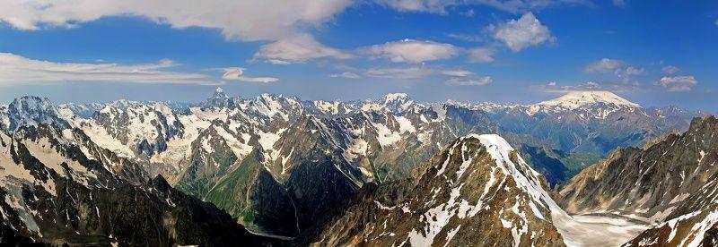 кавказ, приэльбрусье, горы Панорама Главного Кавказскогоphoto preview