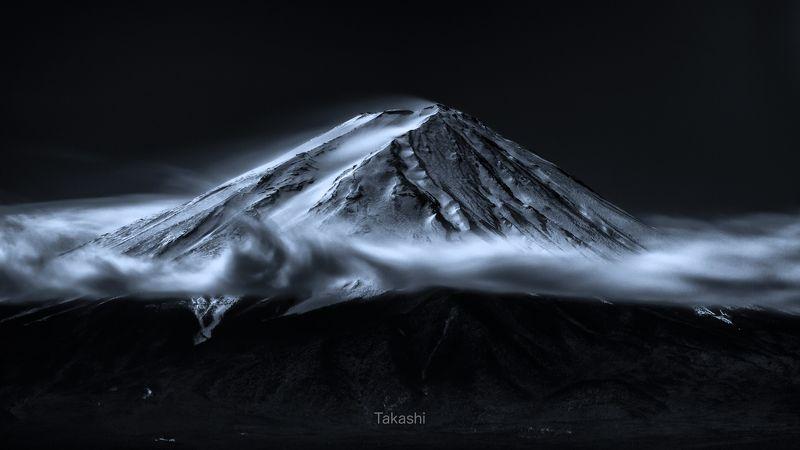 Fuji,mountain,Japan,clouds,snow,peak,top,sky,blue, Brim of cloud hat (Blue ink version)photo preview