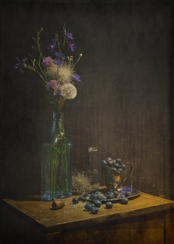 still life with wild flowers and huckleberryphoto preview