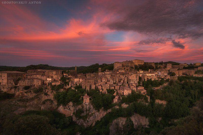 Тоскана, Сорано, Италия, Фототур, закат, Огненный закат над Сораноphoto preview