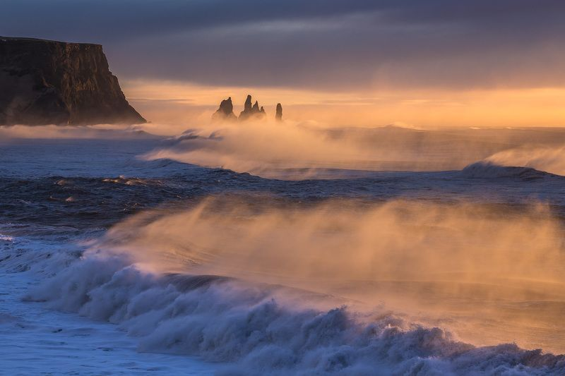 reynisdrangar, iceland, sunrise Strong wind on Reynisdrangar, Icelandphoto preview