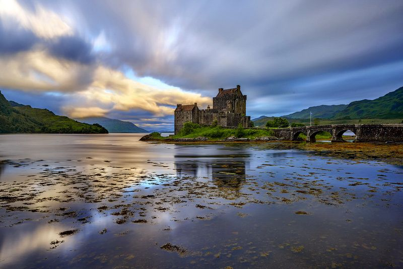 uk, sunlight, historical, loch, western, travel, landmark, castle, history, locations, scenery, light, summer, outside, old, lake, morning, scotland, united, sights, building, rays, historic, britain, world, reflection, architecture, highlands, great, mou Eilean Donan Castlephoto preview