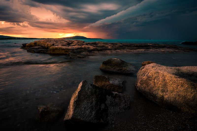 sunset, nature, outdoor,sea, storm, rock,water,landscape Stormy sunsetphoto preview