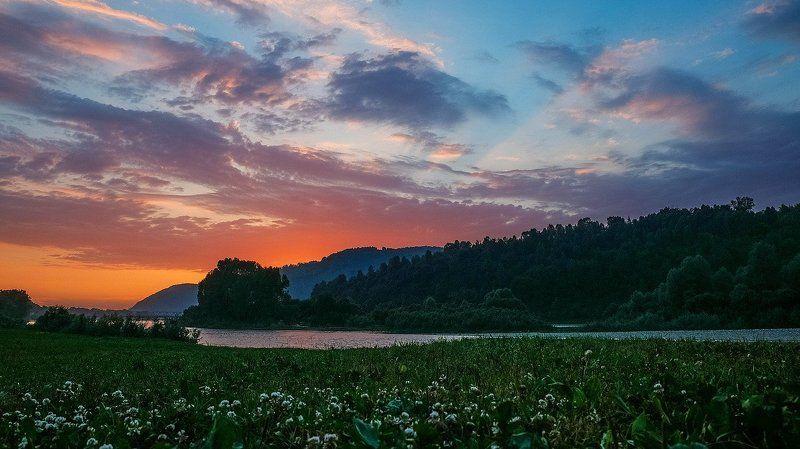 пейзаж, лето. река, закат Закат над Усой.photo preview
