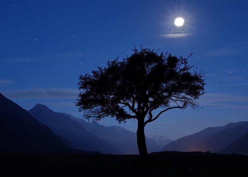горы, предгорья, хребет, вершины, пики, ночь, луна, длинная выдержка, ночная съёмка, звёзды, туман,скалы, холмы, долина, облака, путешествия, туризм, карачаево-черкесия, кабардино-балкария, северный кавказ ЛУНА НАД ДОЛИНОЙphoto preview