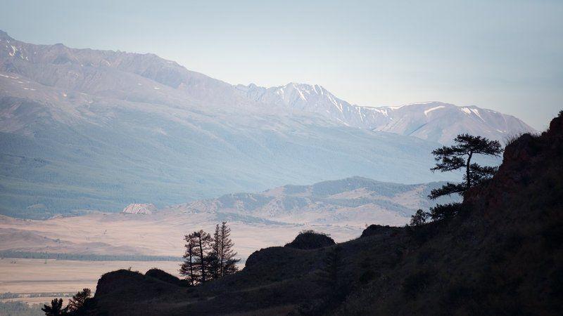 пейзаж, природа, степь, горы, камни, скалы, высокий, большой, красивая, Алтай, Курай, Сибирь, силуэт Дымкаphoto preview