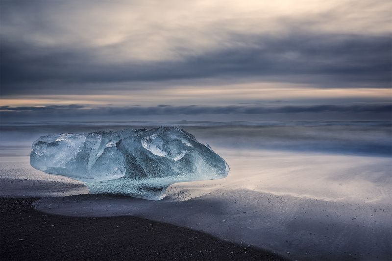 iceland, breidamerkursandur Big stopper exercise with ice mushroom. (Breidamerkursandur, Iceland)photo preview