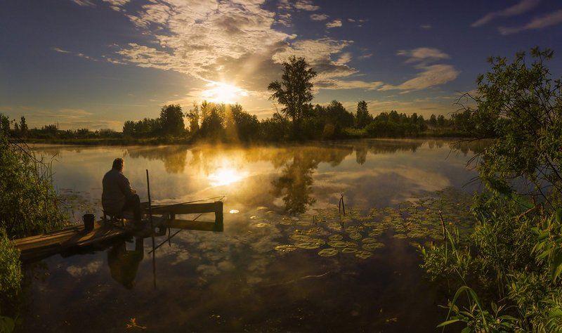 утро, рассвет, туман, солнце, свет, рыбак, тишина Рыбалка в тишинеphoto preview