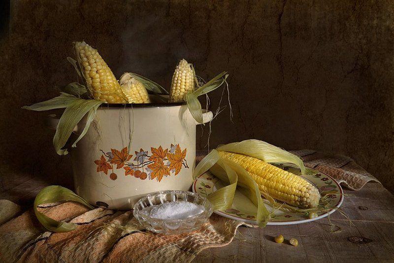 кукуруза,кастрюля,соль,полотенце Горячая кукурузаphoto preview