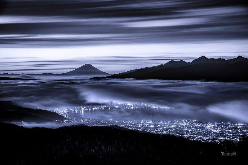 fuji,japan,mountain,clouds,sky,lake,night,wonderful,amazing, Dawn in blue (blue ink version)photo preview