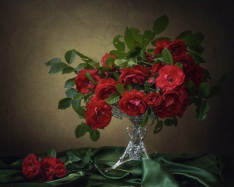 натюрморт, лето, цветы, садовые розы, букет, зеленая скатерть Красное на зеленомphoto preview
