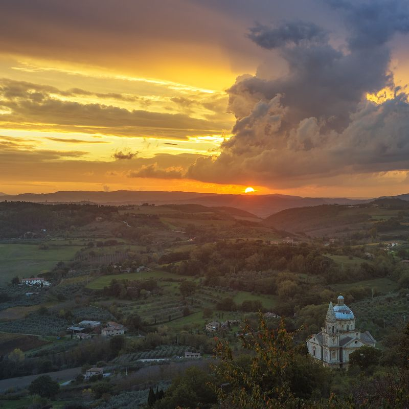 montepulciano tuscany. Sunset in Montepulciano area, Tuscany.photo preview