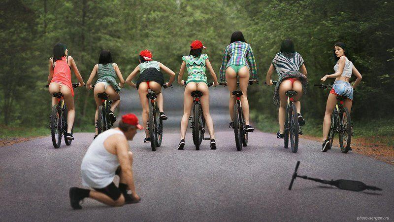 девушки,эротика,юмор,велосипедистки,пленэр,попки Семеро одного не ждутphoto preview