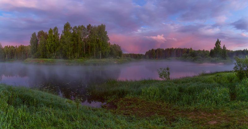 рассвет река тучи туман где-то там, в прекрасных облаках... )photo preview