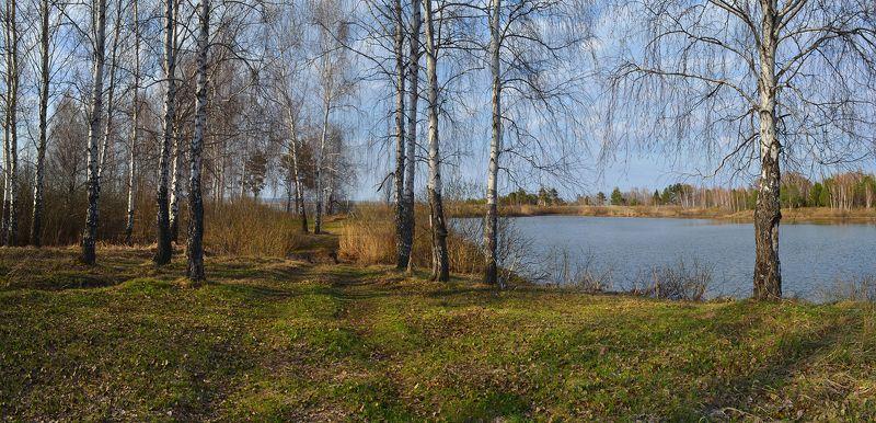 солнечный, тёплый вечер, весна, березы, озеро, дорога, берег У озера. Апрельphoto preview