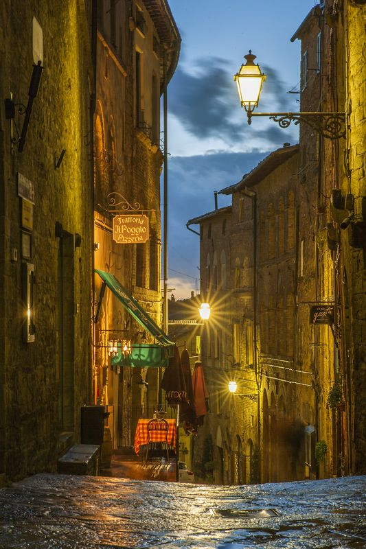 montepulciano tuscany. Montepulciano street view, evening.photo preview