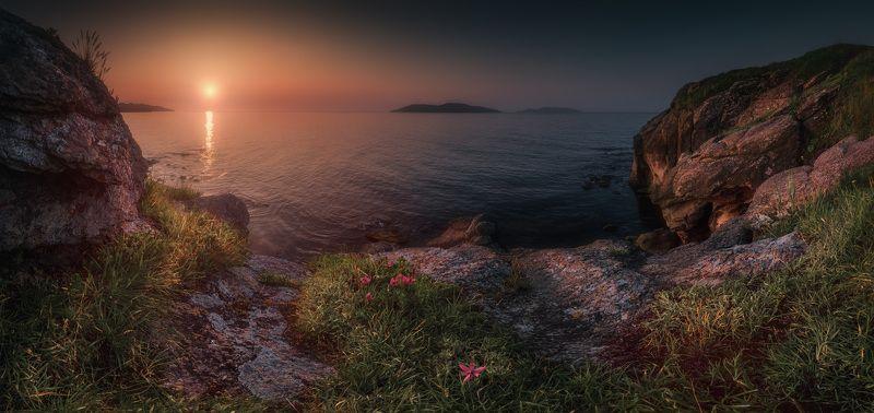 утро, панорама, лето, скалы, море photo preview