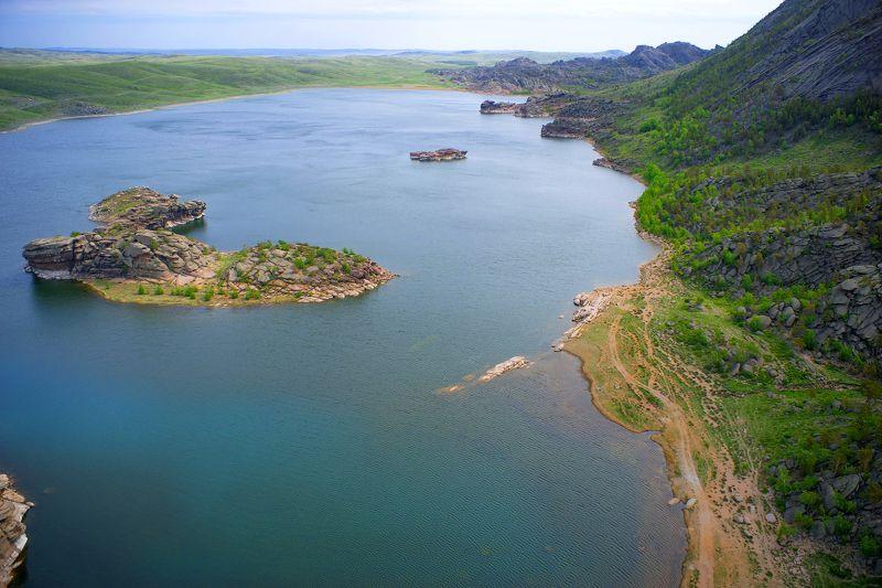Казахстан, Баянаул, курорт, национальный парк, Торайгыр, аэро, дрон, коптер, aerial Озеро Торайгырphoto preview