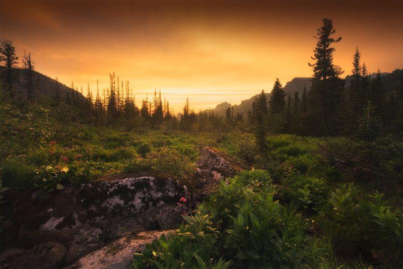 пейзаж, закат, оранжевый, поход, ергаки, лазурное, озеро, вечер, красивый, пихты, кедры, каменный, замок Приключения в Ергаках, ч.4photo preview