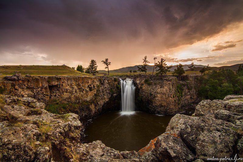 монголия, водопад, закат Орхонphoto preview