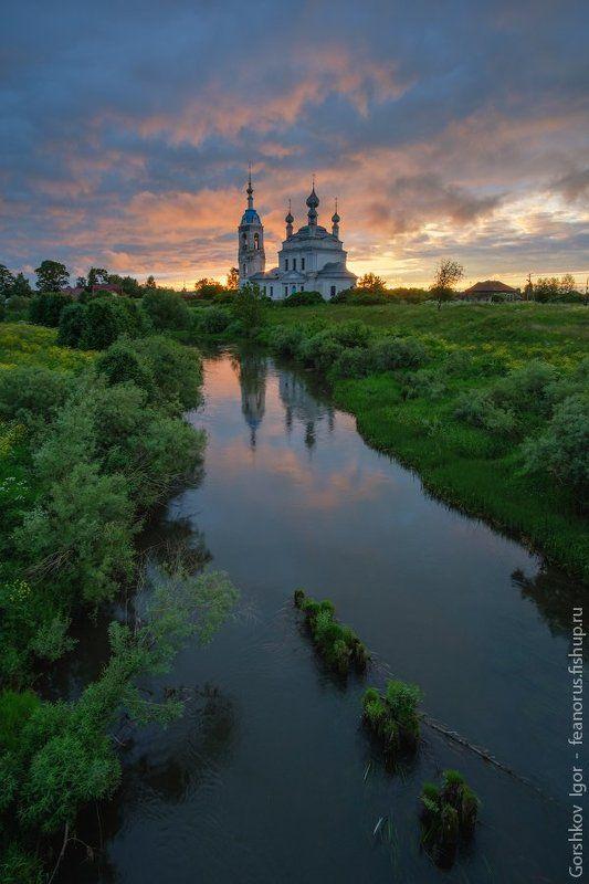 закат,лето,река,савинское,цекровь,храм,небо,тучи,пейзаж,россия,русский, Закат в Савинскомphoto preview