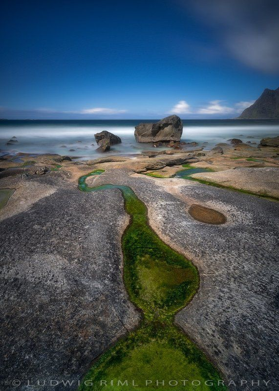 algae, beach, blue, cliff, green, landscape, lofoten, lofoten islands, long time exposure, mountain, nopeople, norway, outdoors, rock, scandinavia, sea, seashore, shore, sky, uttakleiv beach, utttakleiv, warterbasin, water, wave Uttakleiv Beachphoto preview